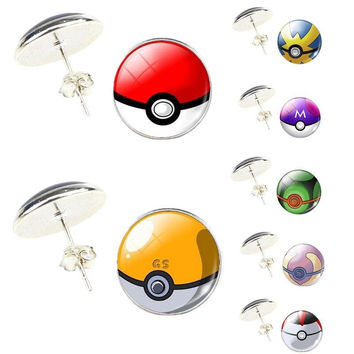 High Quality 2017 Hot New Fashion Women Jewerly Gift Female Cabochon Pokemon Go Round Glass Ear Stud Earrings Exquisite earrings