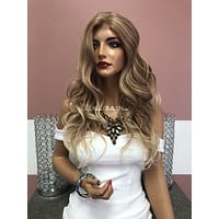 Blond Balayage Swiss Lace Front Wig | Multi Parting| Volume Layered Hair | Katie