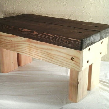 Medium, Handmade wooden step stool, 2 tone finish (Natural and Dark Walnut)