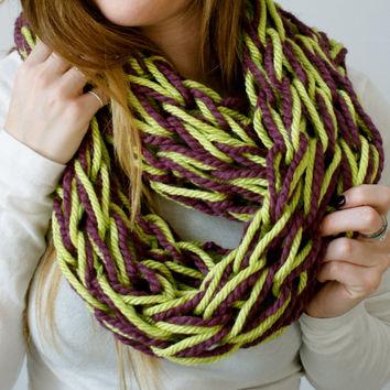 lime green and eggplant chunky knit infinity scarf, green multi color womens winter scarf