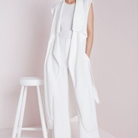 Missguided - Sleeveless Belted Waterfall Duster Coat White