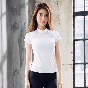 Women Workout Sports T-Shirt Fitness Yoga Clothes Quick Dry Elastic Bodybuilding Gym Running Tops Shirts Sportswear For Girls