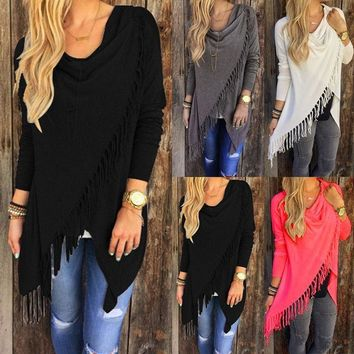 US Women's Loose Long Sleeve Cotton Casual T Shirt Tunic Tops Blouse XB