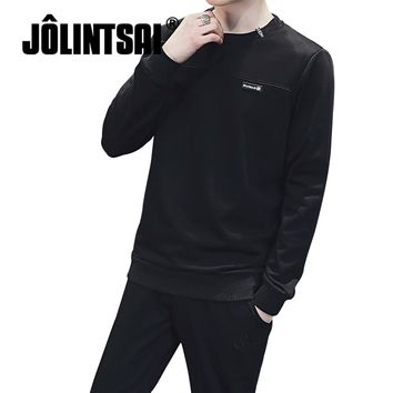 Men's Solid Color Long-Sleeve & Pants Sweatsuit