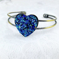 Druzy Heart Bangle, Blue Druzy Bangle, Druzy Bangle Bracelet, Blue Heart Bracelet, Adjustable Druzy Bangle, Druzy Heart, Bridesmaid Bracelet