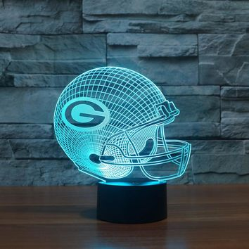 3D LED American Football Team Lamp With 7 Changable Colors