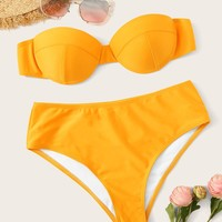 Removable Strap Underwired Bandeau Bikini Set