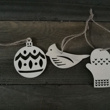 Wood Christmas Tree ornaments, glove shape, bird shape and ball shape ornaments, idea for Christmas tree and party decoration
