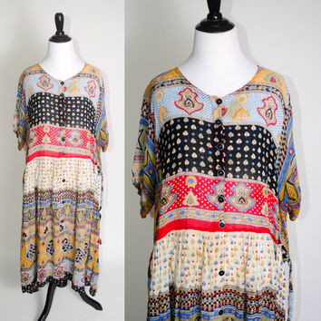 Vintage 1990s Multicolor INDIAN Tribal print button down Rayon Short sleeve GRUNGE Maxi tent Festival Dress