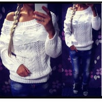 Cable Straight Collar Hollow Knit Pullover Sweater