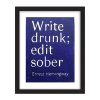 POSTER - Ernest Hemingway Quote Linocut Print Write Drunk Edit Sober Purple - Inspirational 11x14