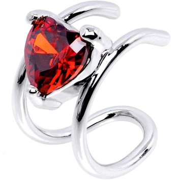 Red Gem Royal Heart Ear Cuff
