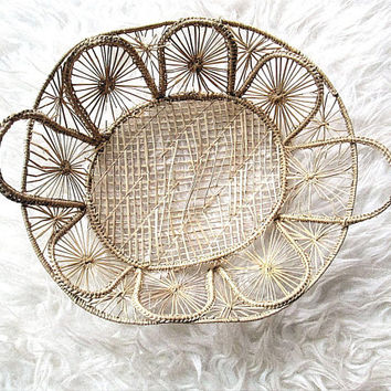 Vintage Handwoven Lacy Straw Basket with Handles Home Decor Storage Housewares