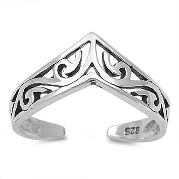Sterling Silver Pointed Filigree 6MM Toe Ring/ Knuckle/ Mid-Finger