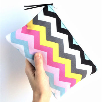 Small Makeup Bag, Chevron Makeup Bag, Chevron Zipper Pouch, Small Cosmetic Bag, Rainbow Pouch