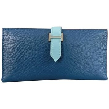 Hermes Bearn Wallet in blue atoll and soufflet colvert
