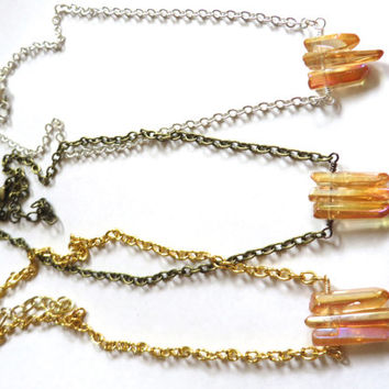 Gold Pink Ombre Opal Dipped Crystal Point Stone Necklace Short Choker Simple Minimalist Gemstone Nugget Adjustable Chain Tooth Layer Pendant