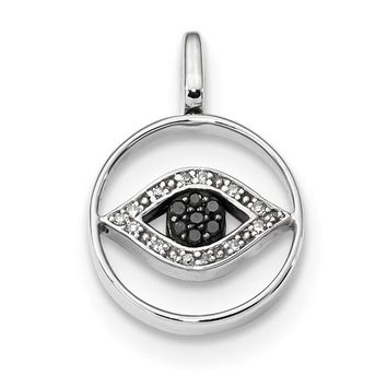 Sterling Silver 0.2ct. Black, White And Blue Diamond Reversible Eye Pendant