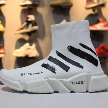 OFF WHITE x Balenciaga Speed Stretch Knit Mid Sneakers Scapra Dlast.s.Go MMA White Socks Shoes