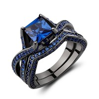 Caperci Black Sterling Silver 925 Princess-Cut Created Blue Sapphire Solitaire Wedding Engagement Ring Set