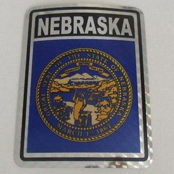 "Nebraska Flag Reflective Sticker 3""x4"" Inches Adhesive Car Bumper Decal"