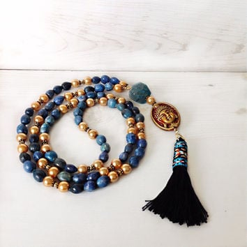 Blue and gold necklace, tassel necklace, buddha jewelry, yoga jewelry, long beaded necklace, bohemian necklace, hippie style