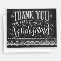 Thank You for Being My Bridesmaid - A2 Note Card