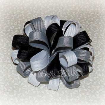 Black & Grey Bow ~ Black Loopy Bow ~ Grey Loopy Bow ~ Grey and Black Bow ~ Black and White Bow ~ Loopy Headband Bow ~ Large Loopy Bow