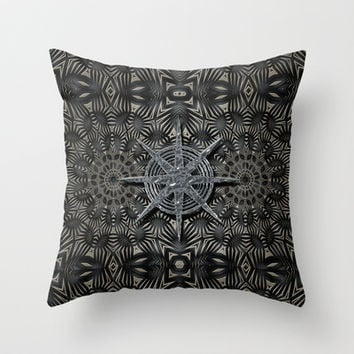 Silver and black Deco Throw Pillow by Peter Gross