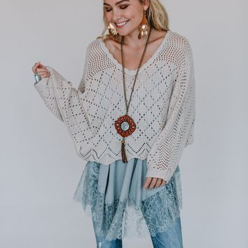 New Romantics Crochet Sweater - Natural