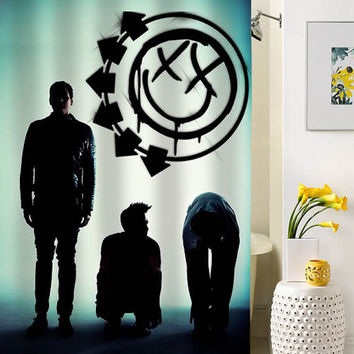 blink 182 logo silhouette shower curtain special custom shower curtains that will make your bathroom adorable