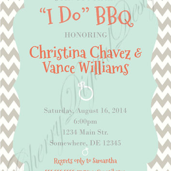 Custom printable I Do BBQ Invitation. Coral, Gray, Mint & White rehearsal dinner invitation. Wedding, rehearsal dinner, engagement party