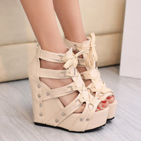 Sexy fashion waterproof platform heels