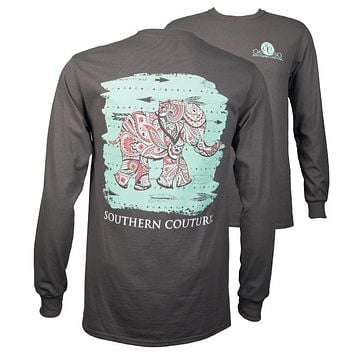 Southern Couture Paisley Elephant Arrows Girlie Long Sleeve T-Shirt