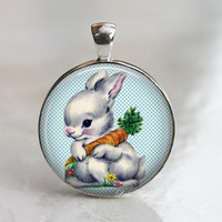 White bunny hugging its favorite food carrot glass necklace easter
