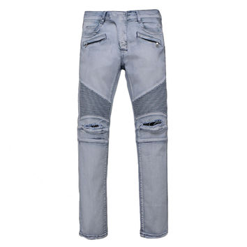 Mens Jeans White masculinaCasual Denim distressed Slim Jeans pants Biker jeans skinny rock ripped jeans homme