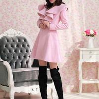Exquisite Solid Color Falbala Wool Coat sold by fashionisfair