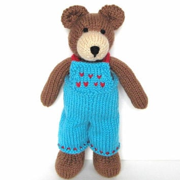 Knit Bear, Child Toy, Ready To Ship, Hand Knit Teddy Bear Soft Toy Baby Shower Gift Teddy Bear Doll Woodland Nursery Stuffed Animal 11 1/2""