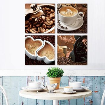 Picture wall art print canvas painting 4 pcs canvas art Coffee Kitchen modern