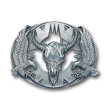Sports Accessories - Buffalo Skull/Eagles (Diamond Cut) Antiqued Belt Buckle