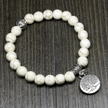 8mm White Howlite Beads Yoga Beads Gourd Mala Prayer Bracelet for Meditation Tree of Life Pendent Bracelet for Women