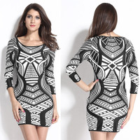 Black Tribal Pattern Print Bodycon Mini Dress