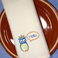 Hello Owl Embroidered Cloth Dinner Napkins - Custom made / party napkins / lunch napkins / embroidered napkins / embroidered cloth napkins