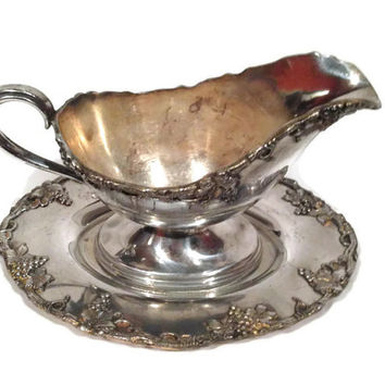 Vintage Silver Gravy Boat with Plate with Grapevine Design
