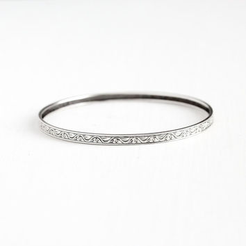 Vintage Sterling Silver Flower Bangle Bracelet - Mid Century Retro 1950s 1960s 8 Inch Floral Vintage Eternity Stacking Jewelry