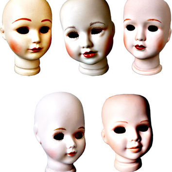 real creepy girl doll heads png clip art Digital Image Download toy clip art dolly parts graphics printables