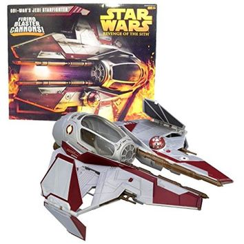 Hasbro Year 2005 Star Wars Movie Revenge of the Sith Action Vehicle Set : OBI-WAN'S JEDI STARFIGHTER with Opening Canopy, Firing Blaster Cannon, Retractable Landing Gear and Spring Open Wings.