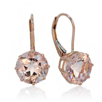 14 Karat Rose Gold Morganite Drop Dangling Lever Back Earrings