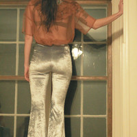 Metallic Silver Lush Velvet High Waist Bellbottom Flare Pants XS S M L XL