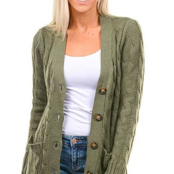 Olive Cable Knit Button Down Cardigan